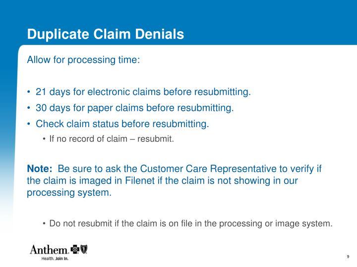 Duplicate Claim Denials