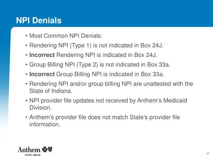 NPI Denials
