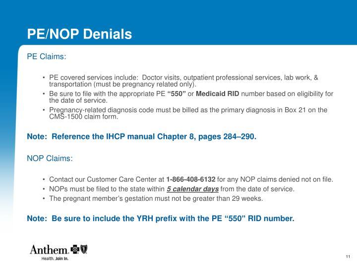 PE/NOP Denials