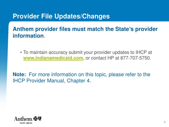 Provider File Updates/Changes