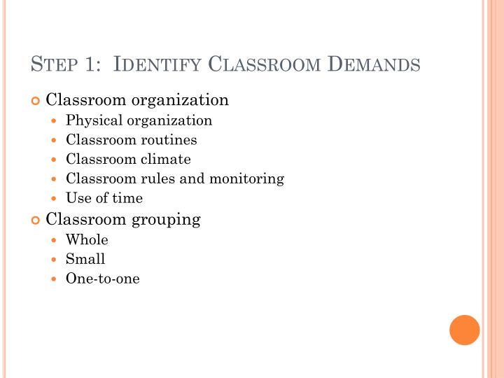 Step 1:  Identify Classroom Demands