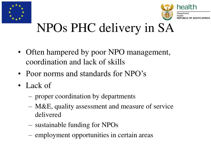 Npos phc delivery in sa