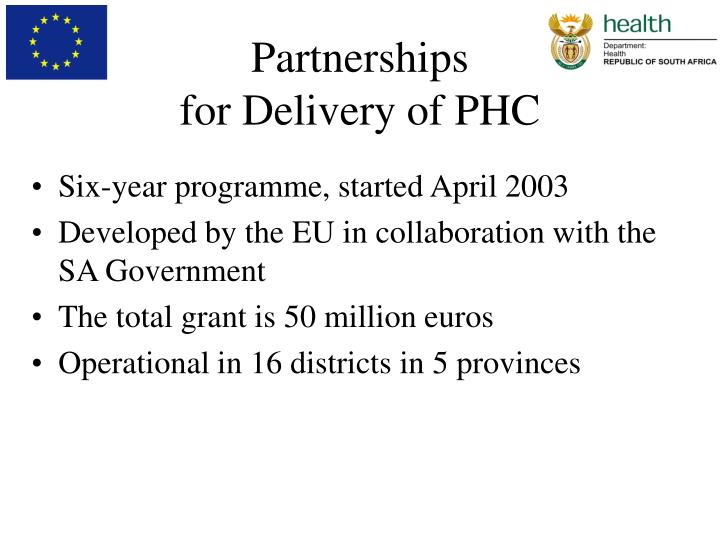Partnerships for delivery of phc