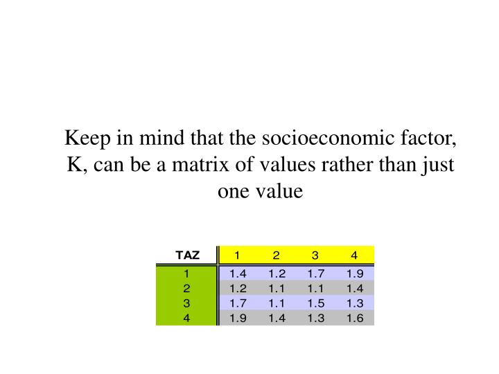 Keep in mind that the socioeconomic factor, K, can be a matrix of values rather than just one value