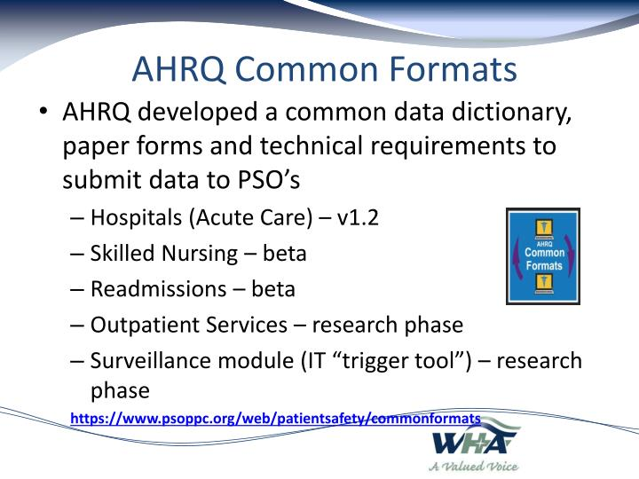AHRQ Common Formats