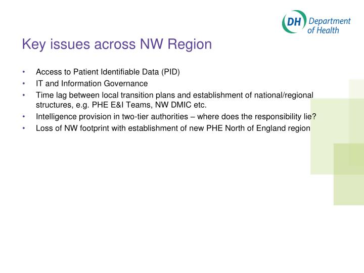 Key issues across NW Region