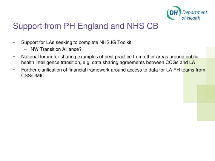 Support from PH England and NHS CB
