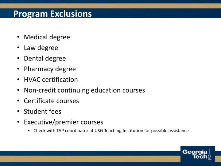 Program Exclusions
