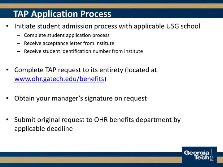 TAP Application Process