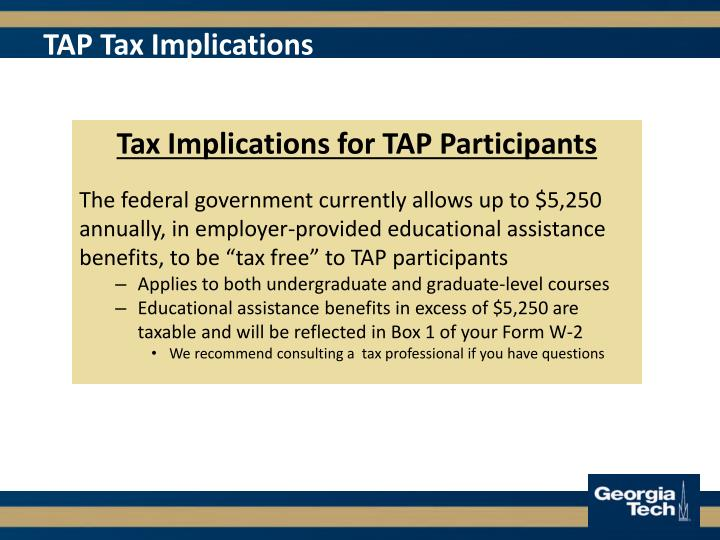 TAP Tax Implications