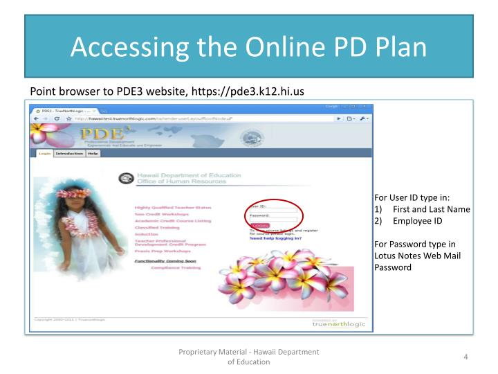 Accessing the Online PD Plan