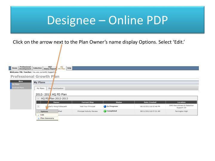Designee – Online PDP