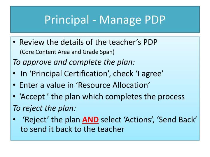 Principal - Manage PDP