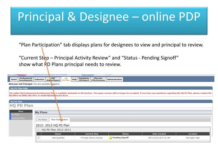 Principal & Designee – online PDP