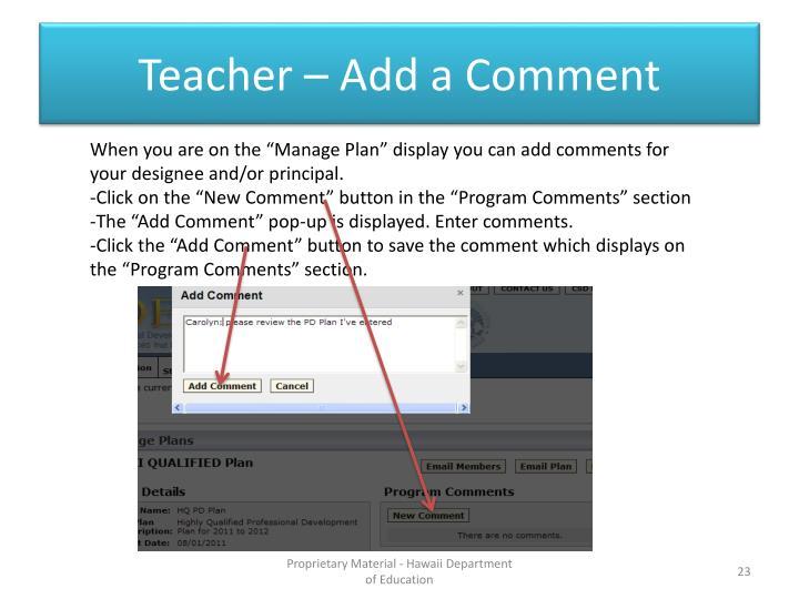 Teacher – Add a Comment