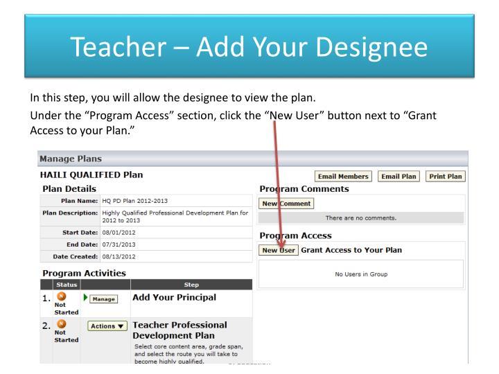 Teacher – Add Your Designee