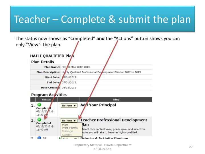 Teacher – Complete & submit the plan