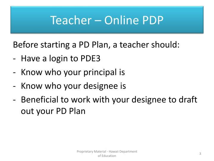 Teacher – Online PDP