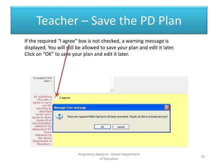 Teacher – Save the PD Plan