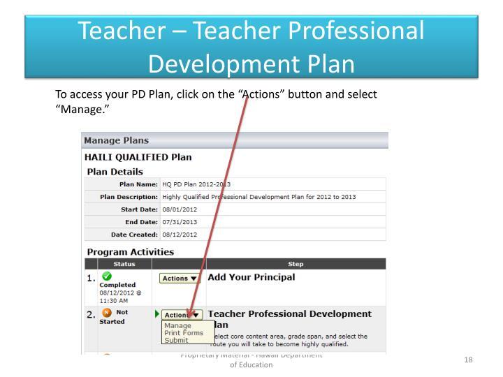 Teacher – Teacher Professional Development Plan