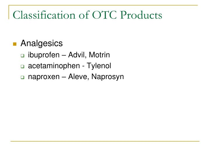Classification of otc products