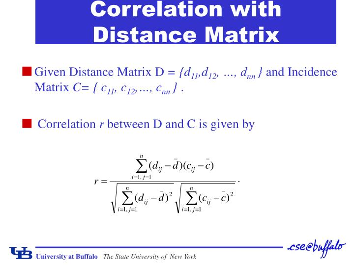 Correlation with Distance Matrix