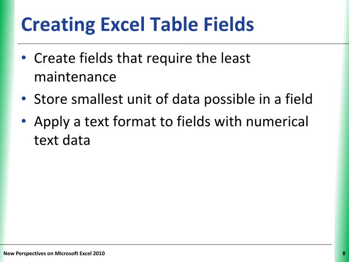 Creating Excel Table Fields