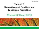 tutorial 7 using advanced functions and conditional formatting