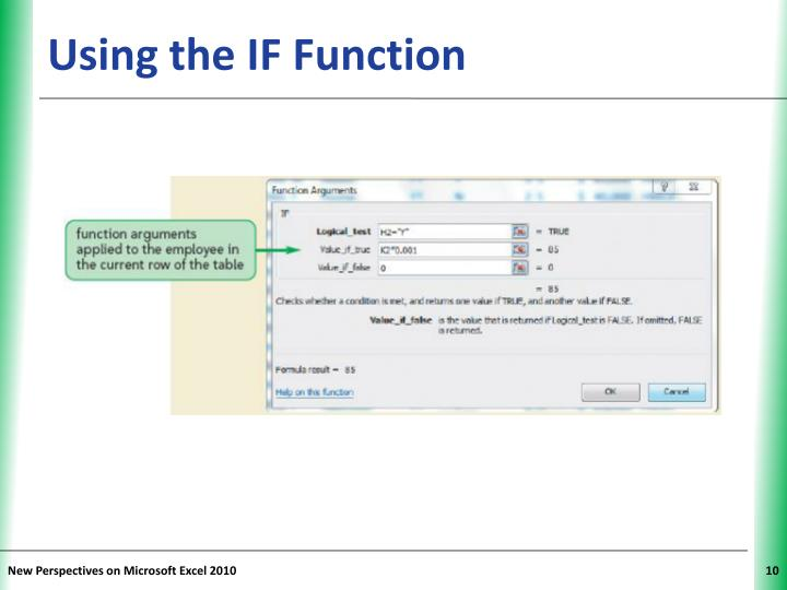 Using the IF Function
