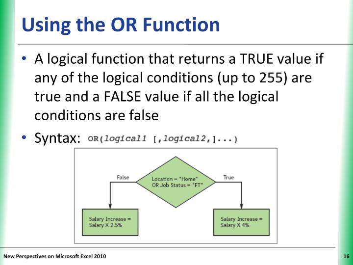 Using the OR Function