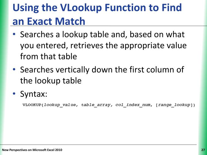 Using the VLookup Function to Find an Exact Match