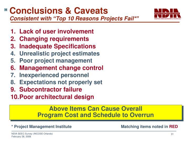 Conclusions & Caveats