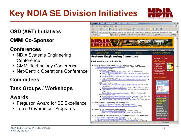Key NDIA SE Division Initiatives