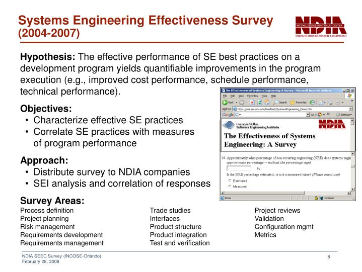 Systems Engineering Effectiveness Survey