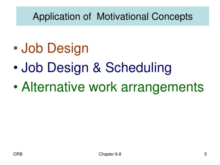 Application of  Motivational Concepts