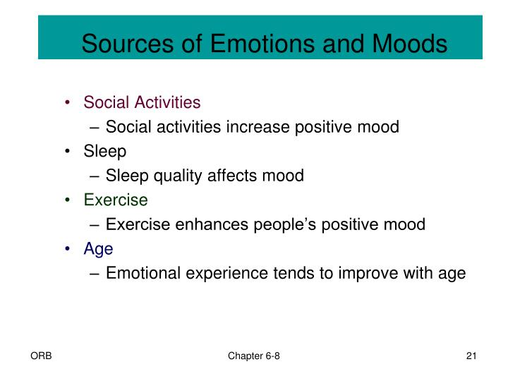 Sources of Emotions and Moods