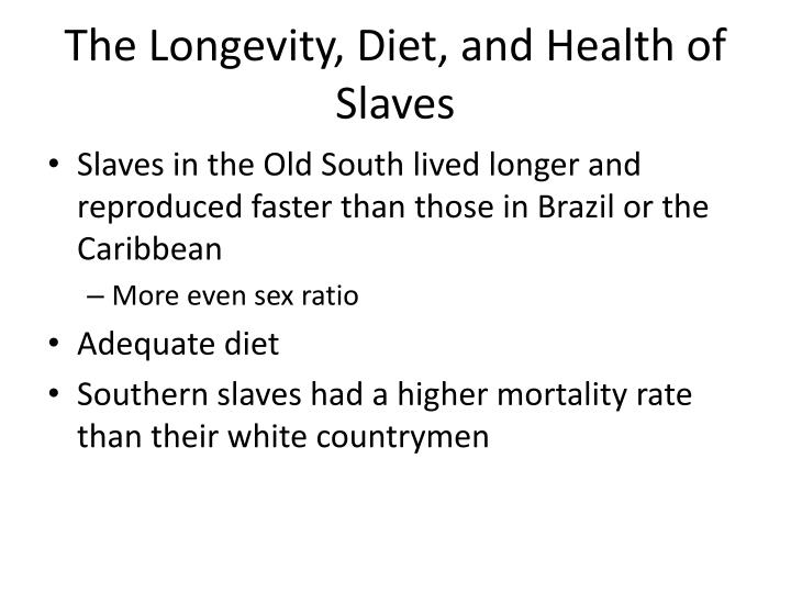 The Longevity, Diet, and Health of Slaves