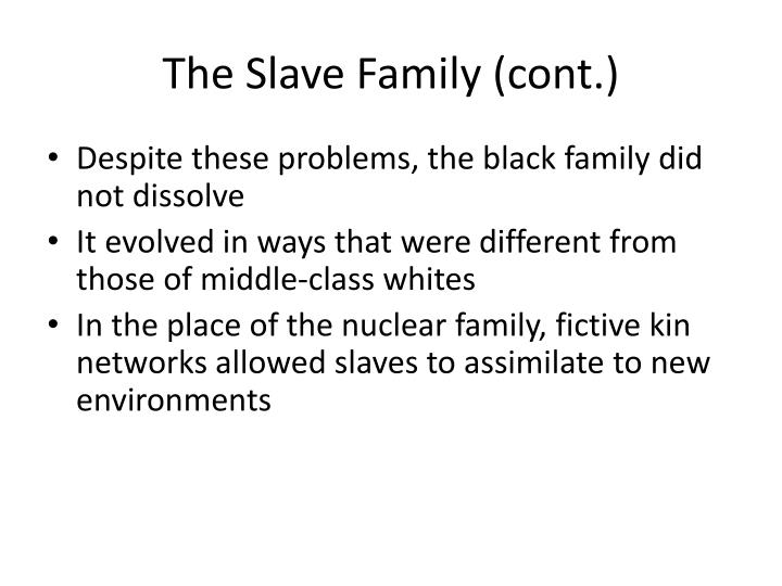 The Slave Family (cont.)