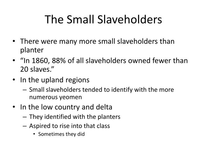The Small Slaveholders