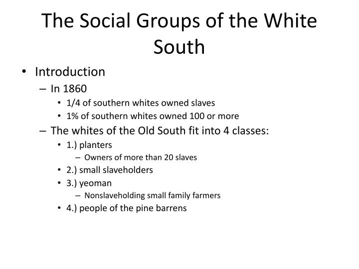 The Social Groups of the White South