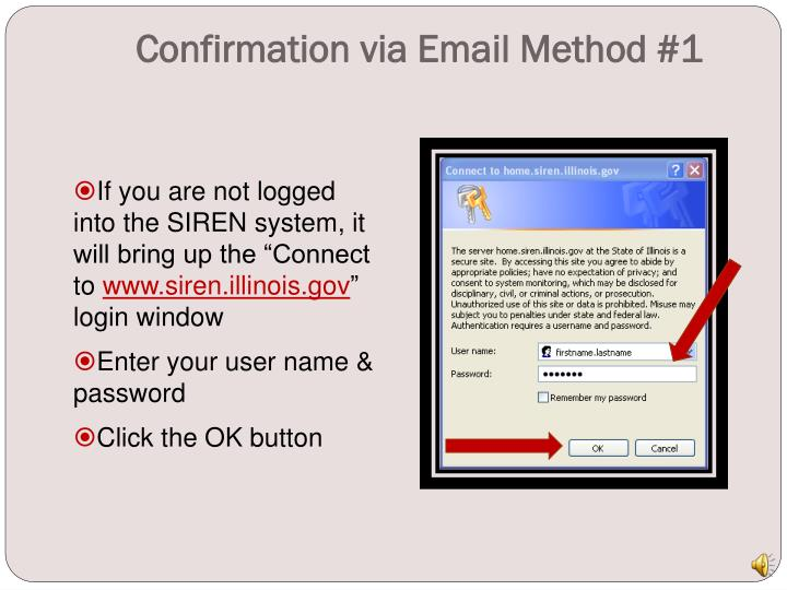 Confirmation via Email Method #1