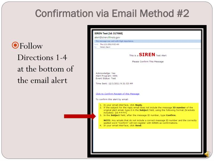 Confirmation via Email Method #2