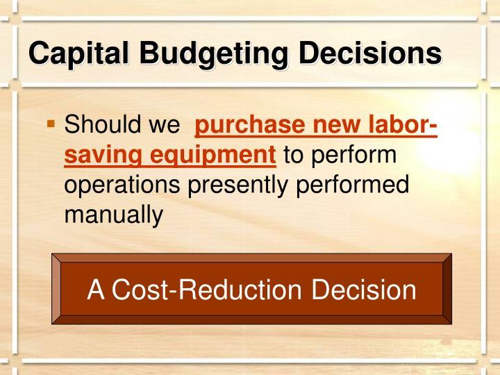 Capital Budgeting Decisions