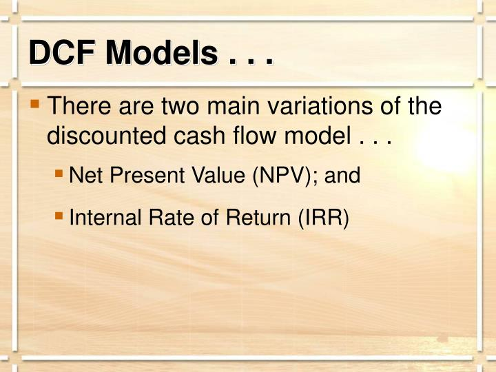 DCF Models . . .