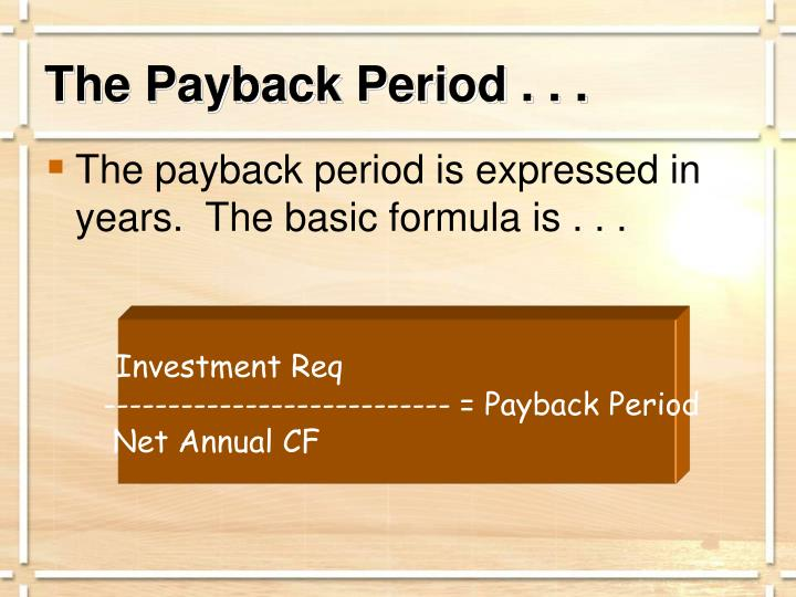 The Payback Period . . .
