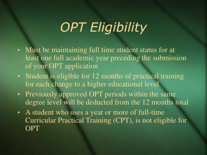 OPT Eligibility