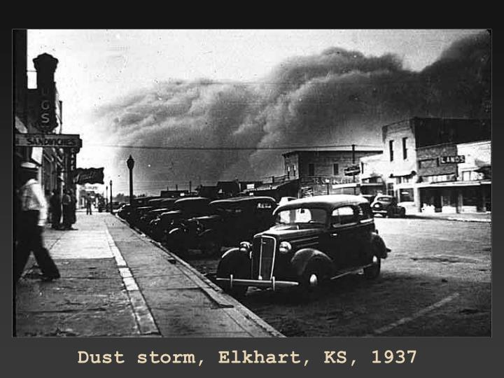 Dust storm, Elkhart, KS, 1937