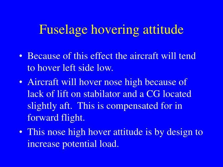 Fuselage hovering attitude