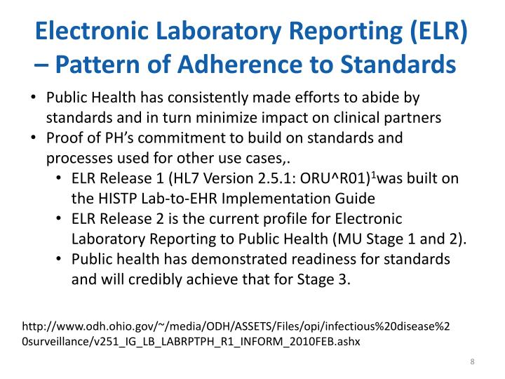Electronic Laboratory Reporting (ELR) – Pattern of Adherence to Standards