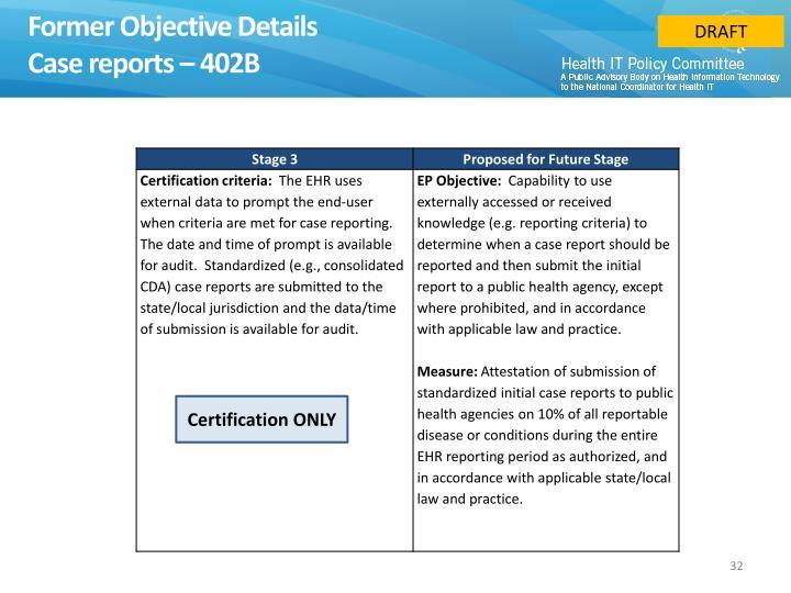 Former Objective Details